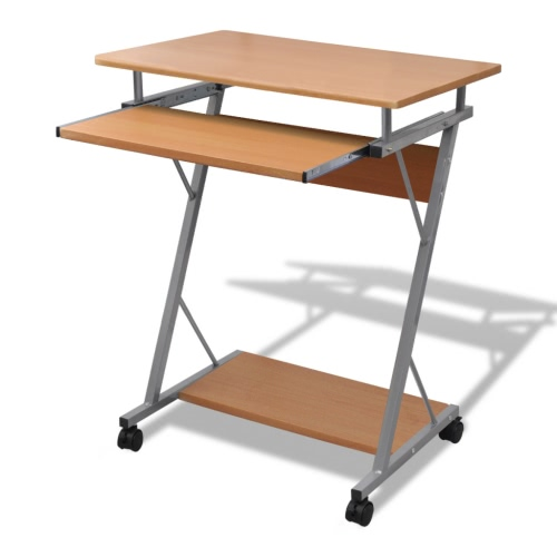 Компьютерный стол Компьютерный стол Корзина PC офисный стол для ноутбука с колесиками коричневые