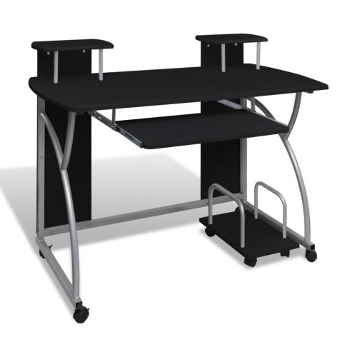 Стол компьютерный стол PC Мобильный компьютер Корзина офис стол Ключевые слова черный