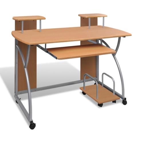 Computertisch PC Tisch Mobiler Computerwagen Bürotisch Laptop braun