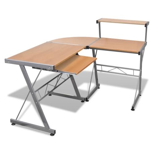 Bureau d'ordinateur table de travail de coin bureau PC de table Table de bureau brun