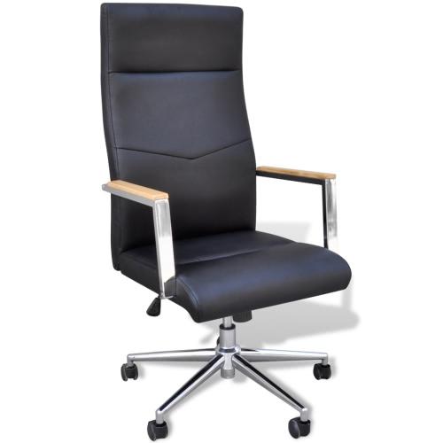 Cuero sintético oficina sillón giratorio ajustable Negro