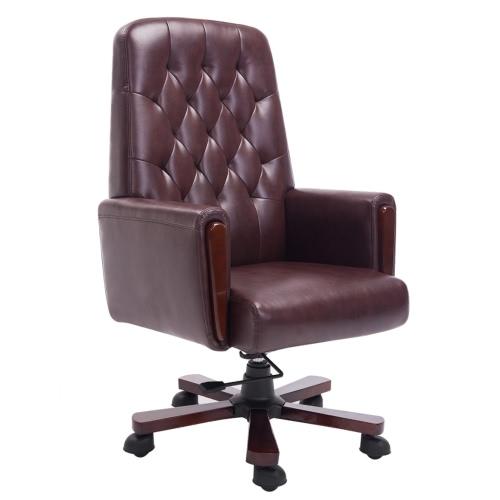 cuero sintético marrón silla de oficina Chesterfield