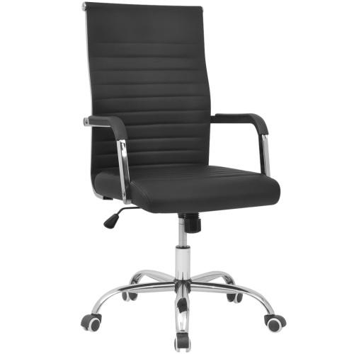 vidalXL sedia da ufficio in similpelle 55x63 cm nero