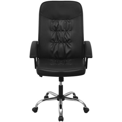 silla de oficina de cuero artificial 67x70 cm color negro