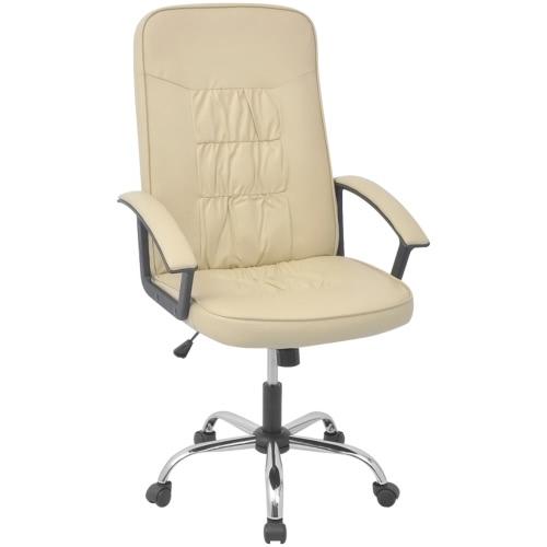 vidalXL sedia da ufficio in similpelle 67x70 cm crema