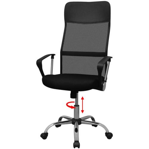 vidalXL sedia da ufficio metà PU 61,5x60 cm nero