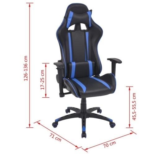 Silla de oficina inclinable racing imitación cuero azul