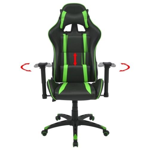 Наклонный гоночный офисный стул для искусственной кожи зеленый