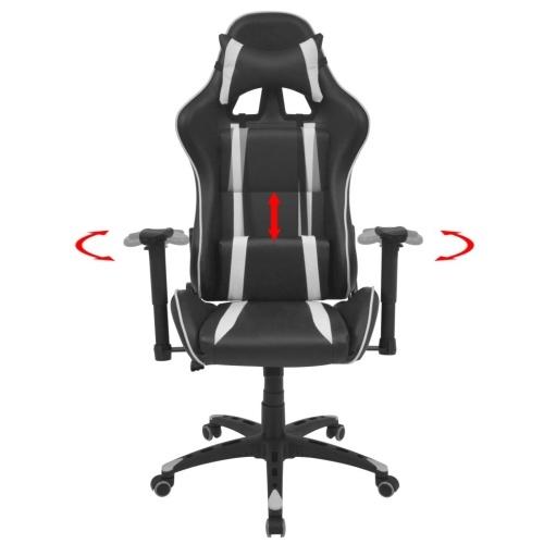 Наклонный гоночный офисный стул для искусственной кожи белый