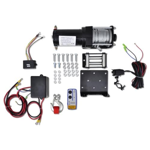 Treuil électrique avec plaque de montage, rouleau chaumard et télécommande sans fil 1360 KG 12 V