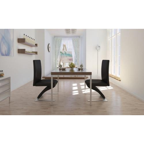 2 Stühle Stuhlgruppe Esszimmer Set schwarz