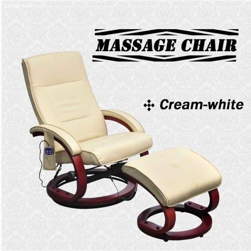 TV elettrica reclinabile poltrona da massaggio crema bianca