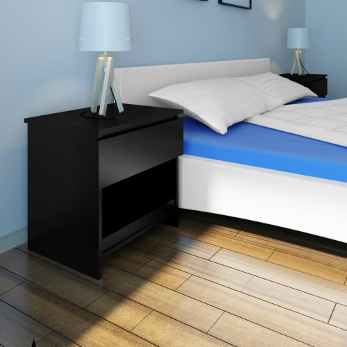 1 Drawer Bedside Cabinet Bedroom Table Black