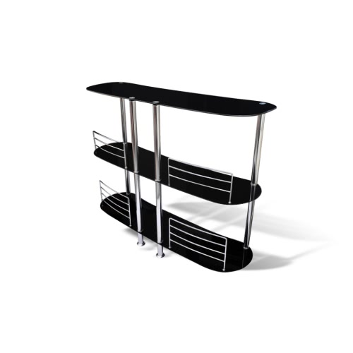 Bar Stand Black Glass Chrome