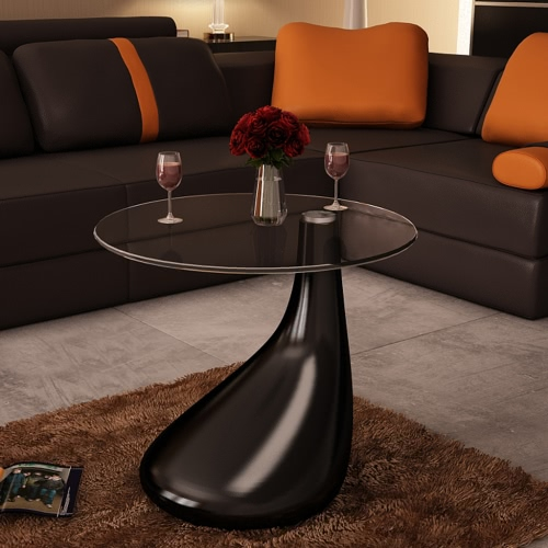Table basse design table basse noire table en verre de table en verre