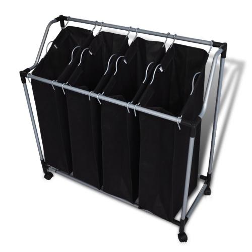 4 Fächer Schwarz Wäschesortierer