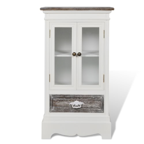 Cabinet 2 Doors 1 Drawer White Wood