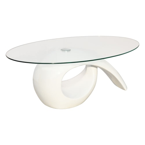 Glass Top Coffee Table High Gloss White
