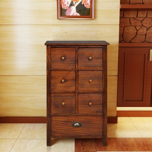 Wooden Cabinet Brown with 7 Drawers