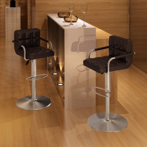 2 x Brown Bar Stool with Armrests