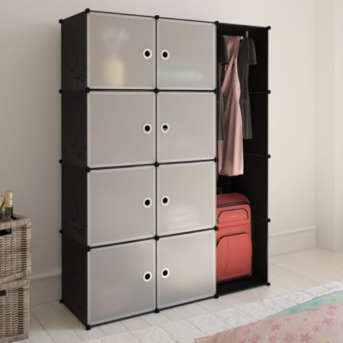 Modular Cabinet with 9 Compartments Black and White 37 x 115 x 150 cm