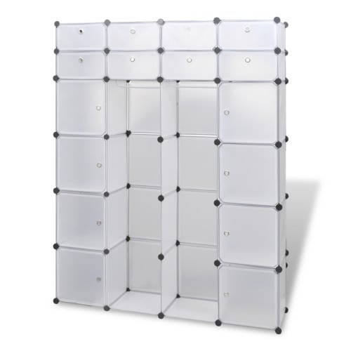 Modular Cabinet with 18 Compartments White 37 x 150 x 190 cm