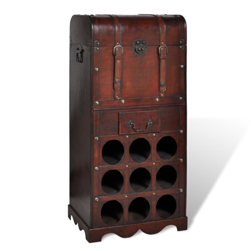 Wooden Wine Rack for 9 bottles Storage Trunk with Drawer