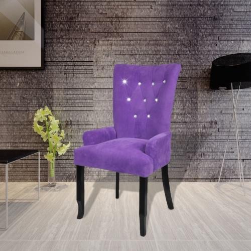 silla de comedor acabado de madera negro de terciopelo morado