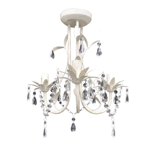 Crystal Pendant Ceiling Lamp Chandelier Elegant White