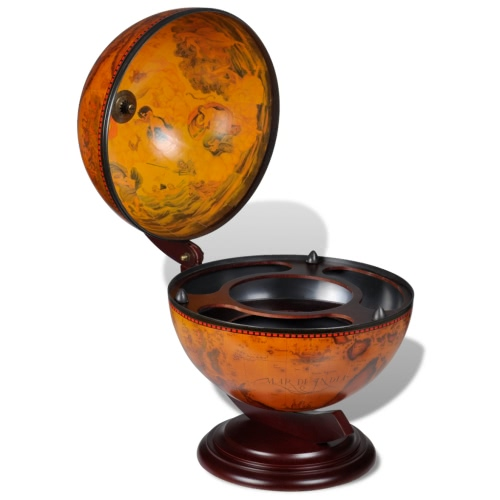 Tabletop Bar Globe with Embowed Stand Wine Liquor Table Stand