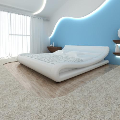 cama de cuero sintético cama tapizada cama de 140x200 Blanco