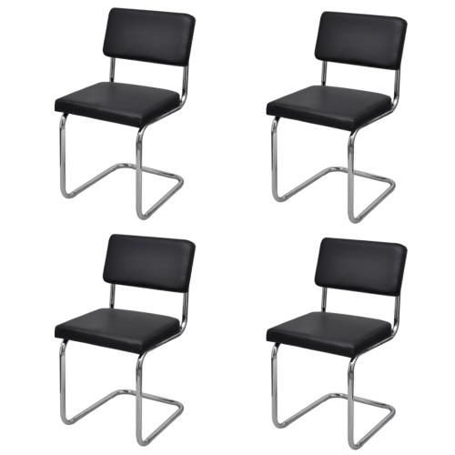 4x silla de comedor comedor Silla de comedor de cuero sintético negro
