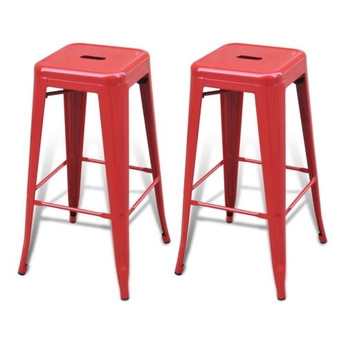 Bar Chair High Chairs Bar Stools Square 2 pcs Red