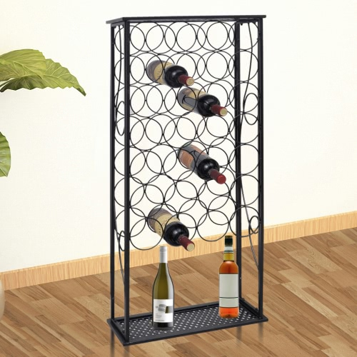 Metal Wine Rack Wine Stand for 28 Bottles