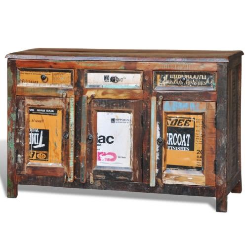 Antik Vintage Massivholz Kommode Sideboard Schrank 3 Türen