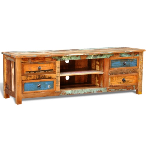 Conception antique rack teck TV Lowboard Buffet 4 tiroirs