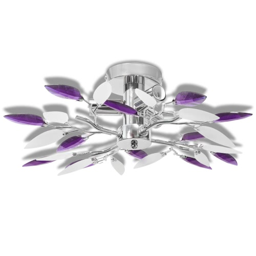 Ceiling Lamp White & Purple Acrylic Crystal Leaf Arms 3 E14 Bulbs