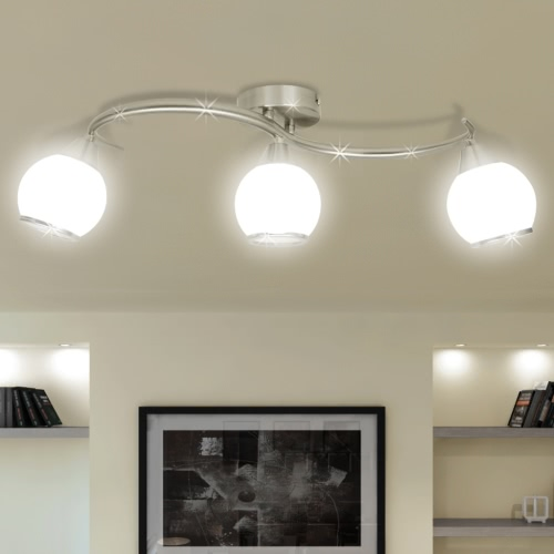 Ceiling Lamp with Glass Shades on Waving Rail for 3 E14 Bulb
