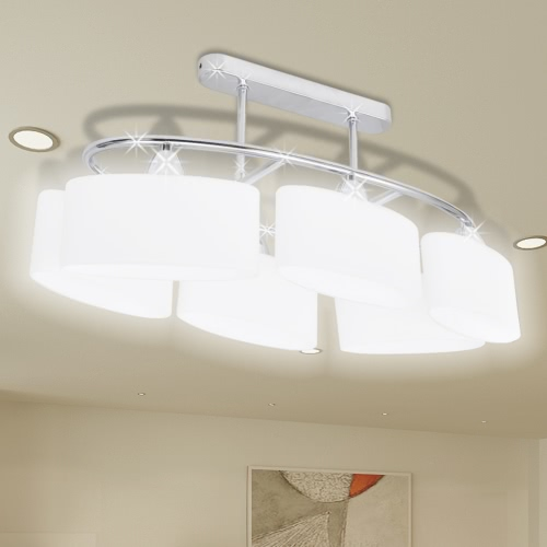 Ceiling Lamp with Ellipsoid Glass Shades for 6 E14 Bulbs
