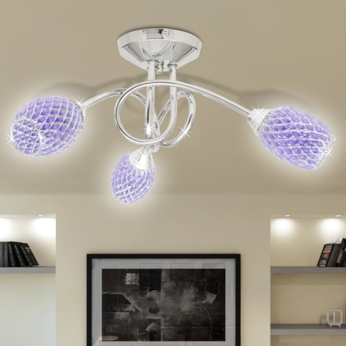 Ceiling Lamp with Purple Acrylic Crystal Shades