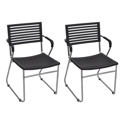 Черные штабелирования стулья укладки стул с подлокотниками 2 шт