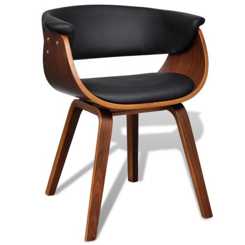 Moderner Lehnstuhl aus Kunstleder und Holz