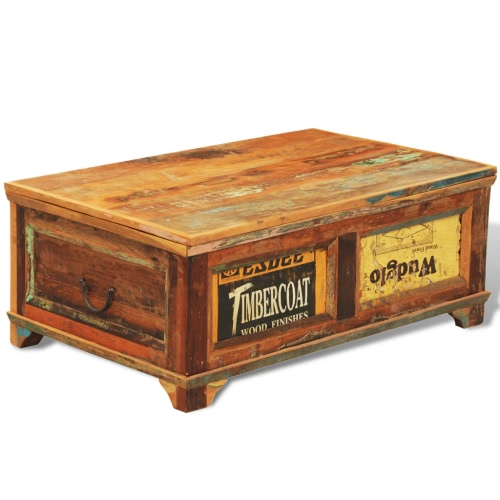 Reclaimed Wood Storage Box Coffee Table Vintage Antique-style
