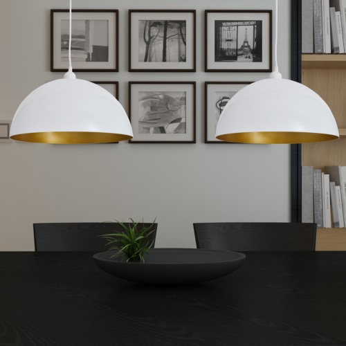 Semi-spherical White Ceiling Lamp 2 pcs