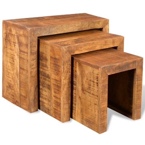 Stolik z drewna stoły zagnieżdżanie Antik Mango Zestaw 3