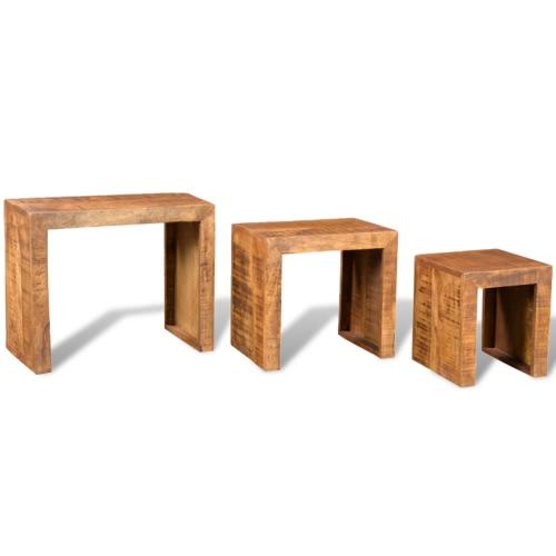 Tavolino Tavolini impilabili Antik Mango legno set di 3