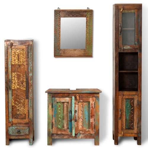 Reclaimed Solid Wood Vanity Cabinet Set with Mirror & 2 Side Cabinets