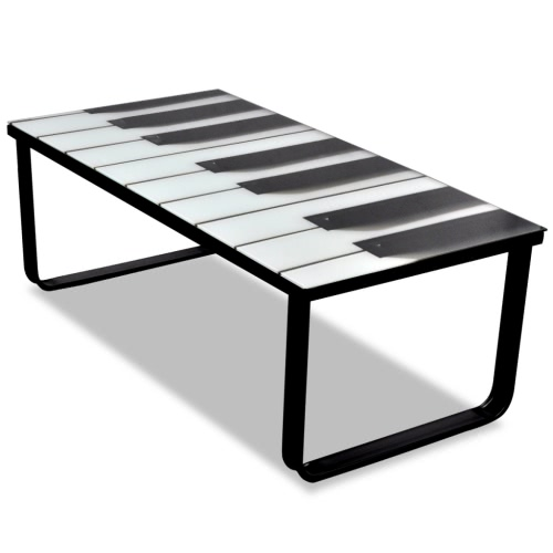 Glass Coffee Table with Piano Printing