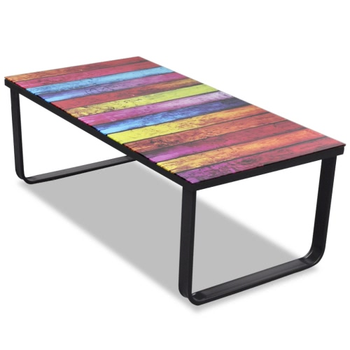 Table basse avec multicolour plaque de verre d'impression
