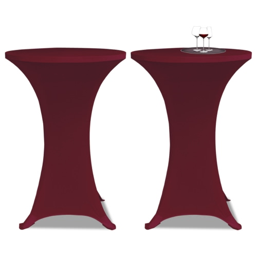 bourgogne 2 x Housse de table pour la couverture bar de table extensible Ø70cm